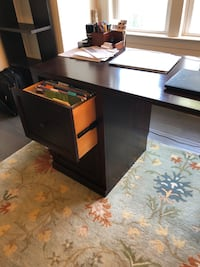 black wooden single pedestal desk Arlington, 22207