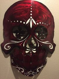 Red and white day of the dead design mask Las Vegas, 89110