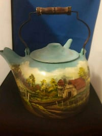 Wagner Colonial Kettle hand-painted signed Las Vegas, 89145