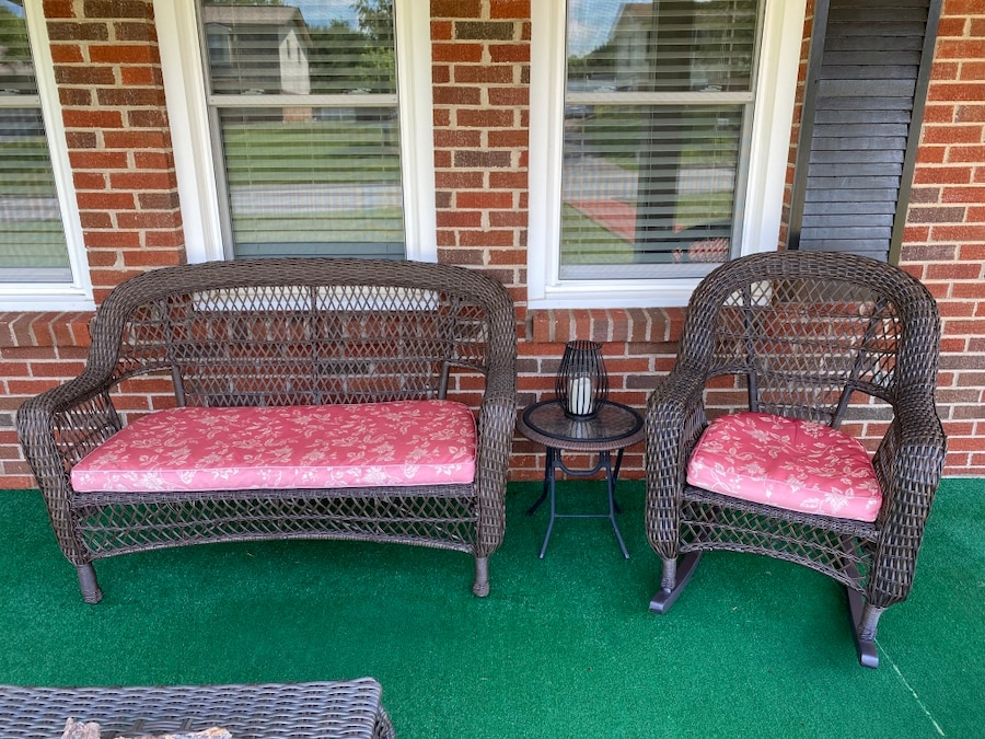 Used Outdoor All Weather Wicker Loveseat and Rocker Chair