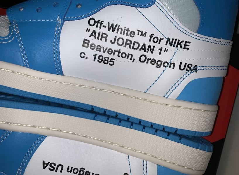 Air jordan 1 UNC off white size 10 5