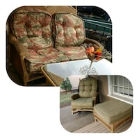 brown and green floral fabric sofa chair Oregon City, 97045