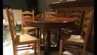 Wooden Dining Table with 6 Chairs and 2 Extensions