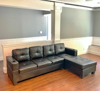 BRAND NEW Black Faux Leather 2pc Sectionals 8' x 5' DELIVERY AVAILABLE! Vancouver