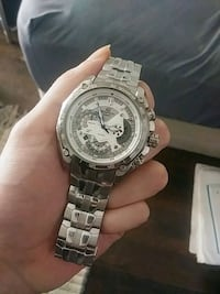 round silver chronograph watch with link bracelet Santa Monica, 90404