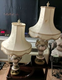 1940s China & Brass Lamps Selling as Pair 27 km
