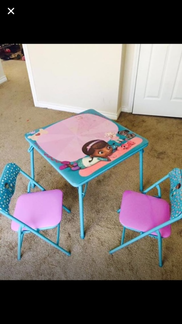 Blue Doc Mcstuffins Table And Chairs