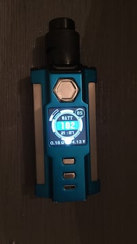 Blue and gray variable box mod with drip atomizer vape