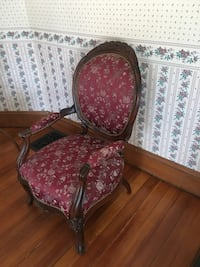 Red and brown floral padded armchair Mansfield, 02048