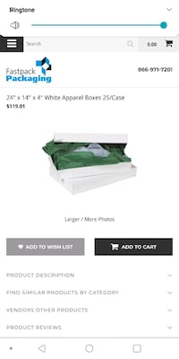 "WHITE APPAREL BOX'S 24"" X 14"" X 4""  CASE OF 25 NEW   Hagerstown, 21740"