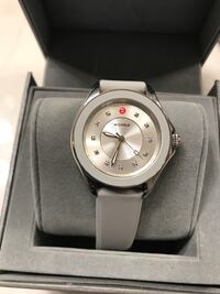 round silver analog watch with white strap in box Upper Marlboro, 20774
