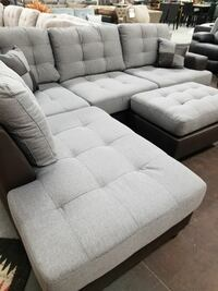 Light bluish grey fabric sectional with a matching