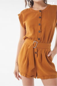 Urban Outfitters Linen Romper - Brown, Size S Vancouver, V5L 2H8