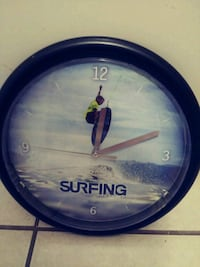 Surfs up wall clock for home or camper Myrtle Beach, 29577