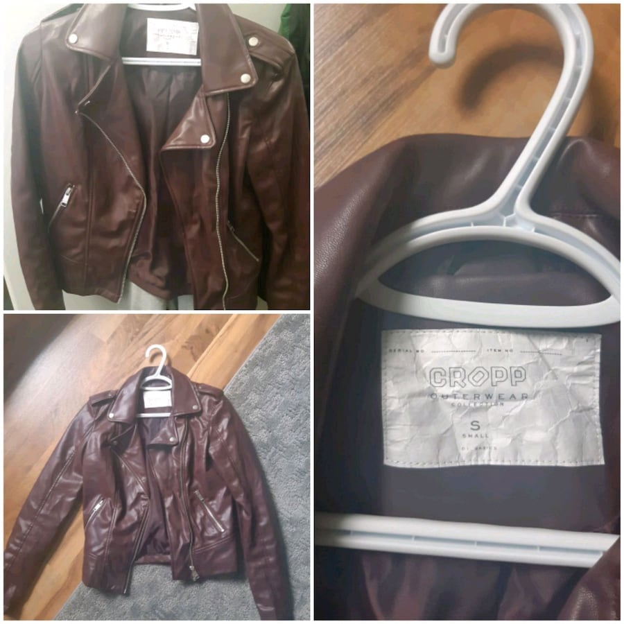 Burgundy color moto jacket size small