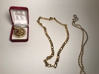 Gold Plated Chains & Tiger Pendant  Pickering
