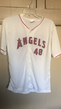 white and red Los Angeles Angels 48 jersey shirt