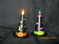 "$3 for both ** 4-3/4"" T x 3"" W - Light-Up Ceramic Type Witch Hats"