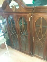 brown wooden framed glass cabinet Gaithersburg, 20886
