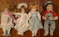 """4 Poreclain Dolls 14"""" / 15"""" In excellent used condition  (ref # barb 1) Newmarket"""