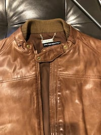 Brown leather zip-up jacket Edgewater, 07020
