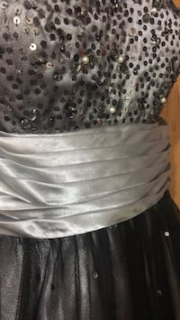 Gray Sequin Prom Dress