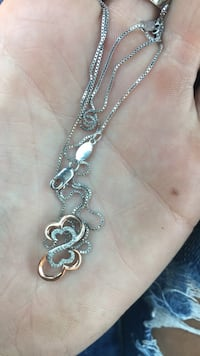 Open Hearts by Jane Seymour™ Diamond Accent Layered Pendant in Sterling Silver and 10K Rose Gold Colorado Springs