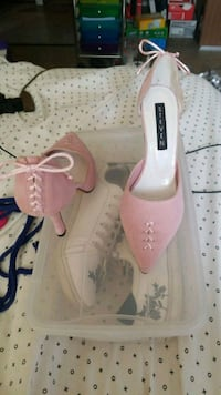 pair of pink suede pointed-toe pumps New York, 10024