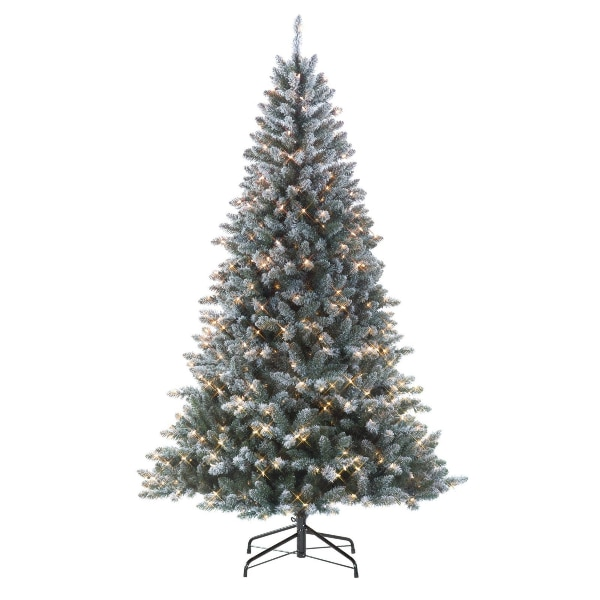 Jaclyn Smith 7 ft Colorado Flocked Pine Christmas Tree 600 Clear Lights - Used Jaclyn Smith 7 Ft Colorado Flocked Pine Christmas Tree 600