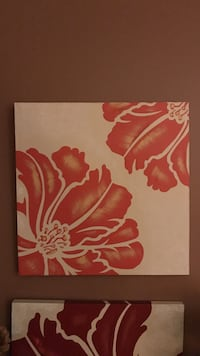 Red lilies box canvas painting and a second one Atkinson, 03811