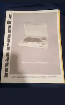 Marantz Vintage Turntable Handbook of Instructions