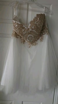 white and gold formal/Prom dress Toronto, M9W 7J4