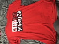 red and white Weekend Warrior crew-neck t-shirt Niagara Falls, L2E