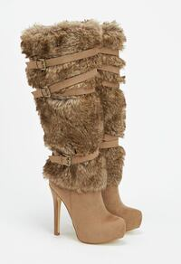 New sassy faux suede heel, front platform and faux fur shaft with strap and buckle accents