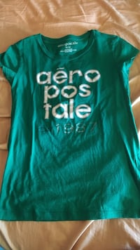 Green and white aeropostale t-shirt