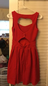 red boat-neck tank sleeveless skater dress Sunrise, 33313