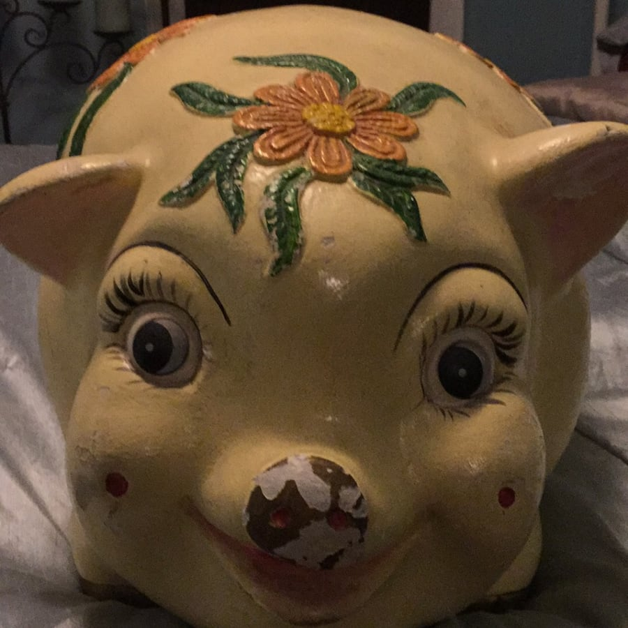 Oversized Yellow ceramic pig figurine!