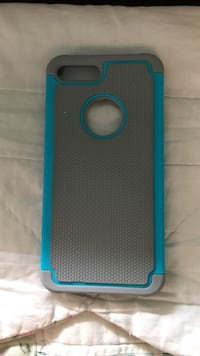gray and blue iPhone case