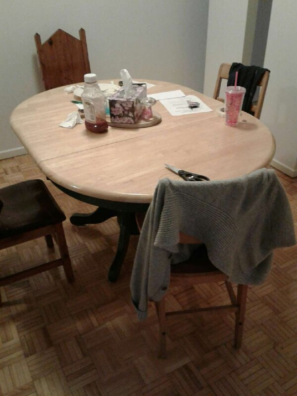 Used Oval Brown Wooden Dining Table Set For Sale In Ottawa