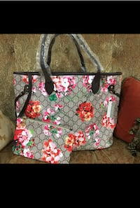 black and pink floral tote bag Sterling Heights, 48310