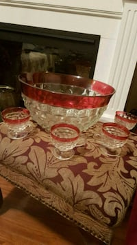 Vintage Indiana Glass Thumbprint/Ruby Flash Punch Bowl Set