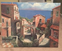 painting of red house village wall decor Stuarts Draft, 24477