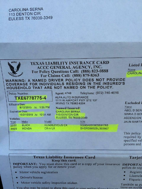 Used Texas Liability Insurance Card For Sale In Lawrenceville Letgo