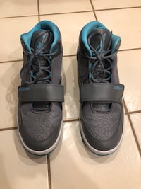 Pair of grey and blue air jordan basketball shoes Frederick