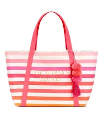 Victoria's Secret Large Canvas Striped Tote Bag with Pom Pom Pink,