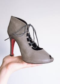 Grey/Red - Leather Lace-Up Stiletto - 8 / 8.5 Winnipeg, R2V 3E1