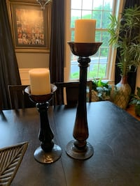 two brown wooden base table lamps