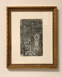 Vintage primitive charcoal drawing on paper   Atlanta, 30308