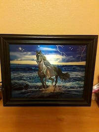 running brown horse at the beach painting with brown frame Fife, 98424