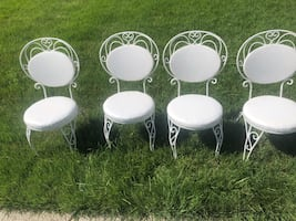 4)White Wrought Iron Chairs